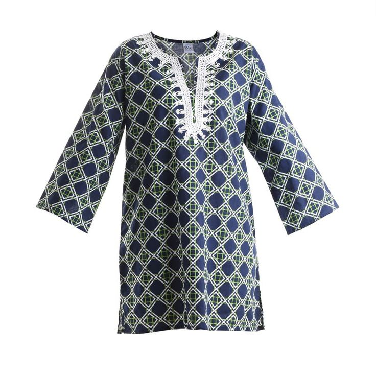 KURTA IN BLUE COLOR WITH WHITE/GREEN PRINTS - Blouses-Shirts - Clothes