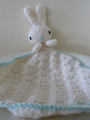 The Little Bunny Blanket Buddy (good size for preemie) free crochet pattern on The Little Pomegranate at http://www.thelittlepomegranate.co.uk/patterns/the-little-bunny-blanket-buddy/