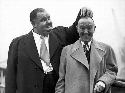 Wonderful Oliver Hardy & Stan Laurel on tour toward the end of their careers.