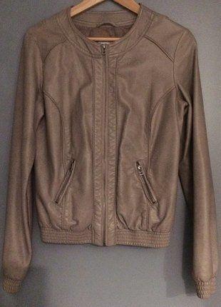 Veste en simili cuir couleur camel femme