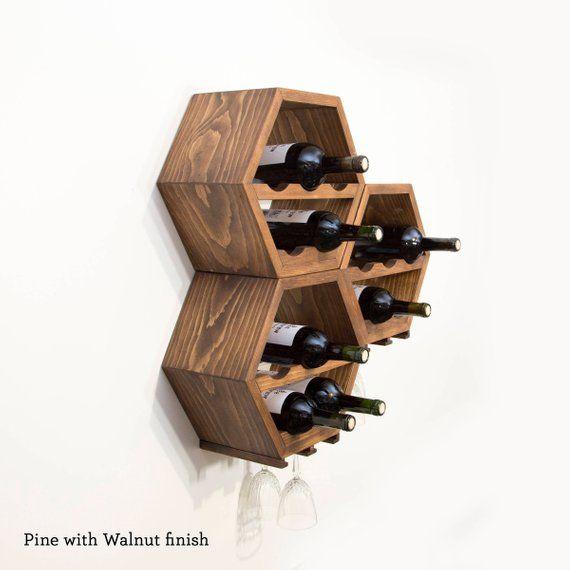 Wood Wine Rack Kitchen Decor Wine Storage Gift Idea Unique