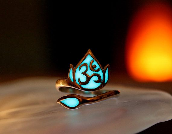 Lotus Flower OM Ring GLOW in the DARK Sterling Silver by Papillon9