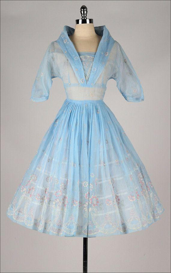 vintage 1950s dress . powder blue flocked by millstreetvintage