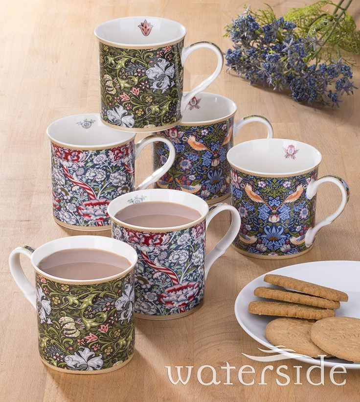 6 Piece William Morris Fine China Mug Set: Amazon.co.uk: Kitchen & Home