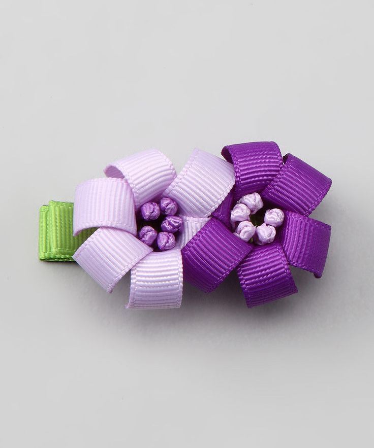 Purple flower hair clip
