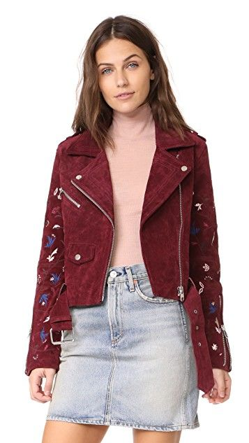 Driftwood Embroidered Suede Moto Jacket | SHOPBOP SAVE UP TO 30% Use Code: MORE17