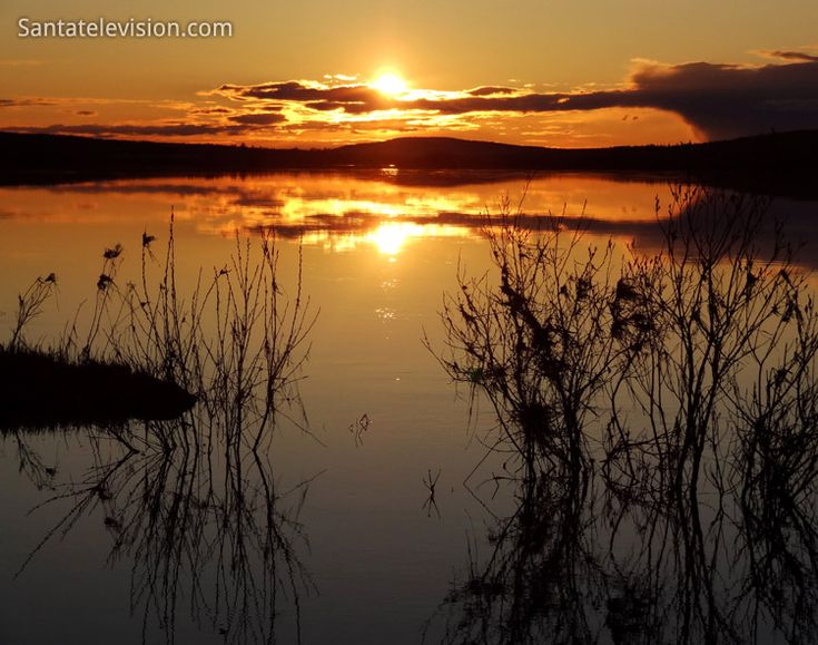 Midnight sun in Rovaniemi in Lapland, Finland