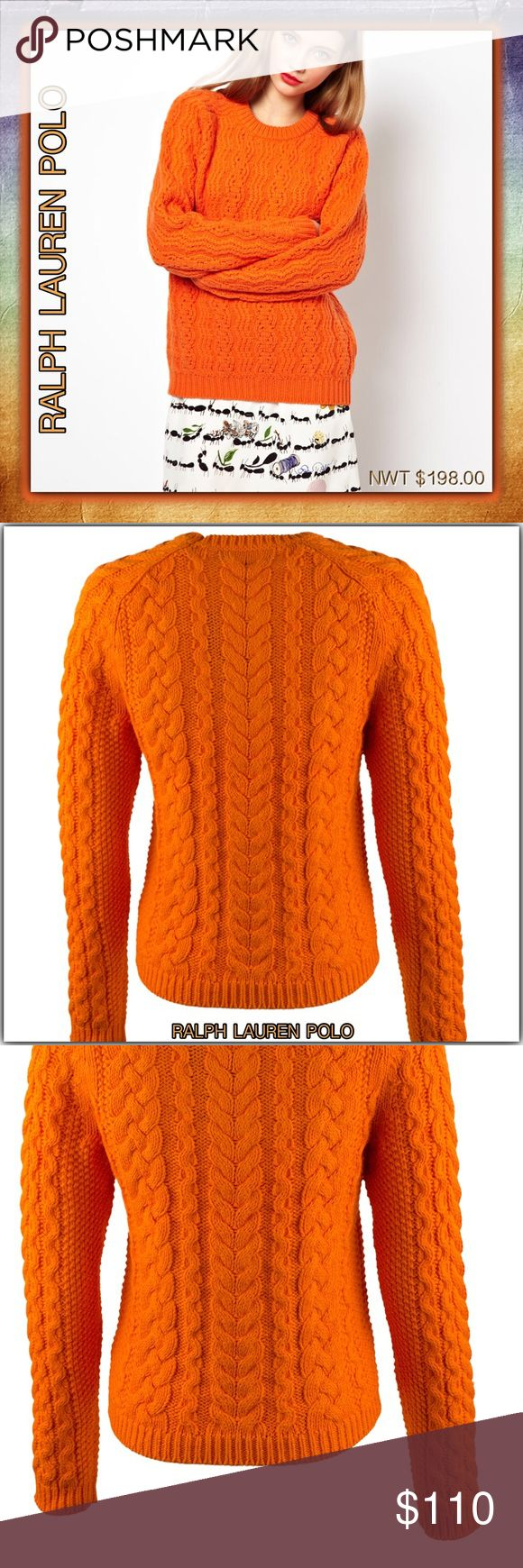 """Polo Ralph Lauren Aran-Knit Crew-neck Sweater Sz M Polo Ralph Lauren Size Type: Regular  100% Cotton  Retail: $198.00. Tags are attached. No """"sale stickers"""". HTF for this price! This Gorgeous Sweater is shipped with care. No delay. Measures flat across at bust-18"""", at  length 26"""", at waist 16"""", stretchy sweater material...(cozy). Pinch open & close pics,  as they are part description. All Poshmark sales are final. Ask questions, if needed.  Beautiful Color of Sunkist Aran-knit pattern…"""