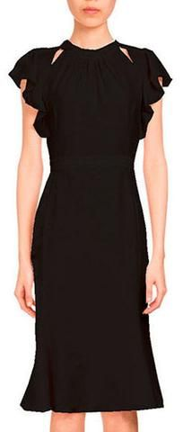 Ruffle Sleeve Dress-Black