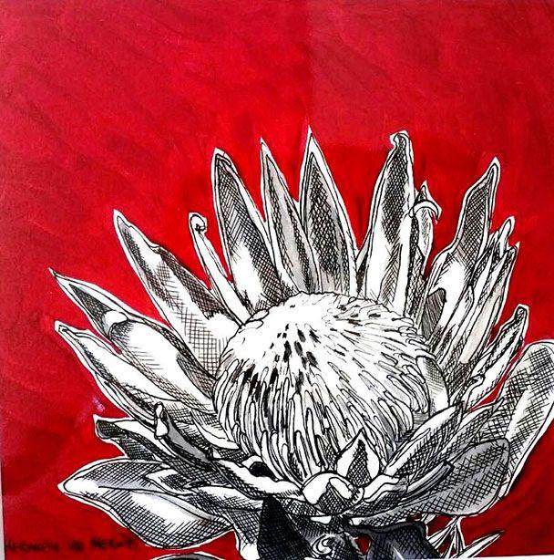 Hermien Van Der Merwe;  Title: Fynbos:  Table Mountain Fynbos 20 Medium: Pen-and-Ink drawing on paper with oil paint background Size: 200 x 200mm