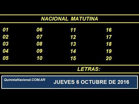 Quiniela - El Video oficial de la Quiniela Vespertina Nacional del día Jueves 6 de Octubre de 2016. Info: www.quinielanacional.com.ar