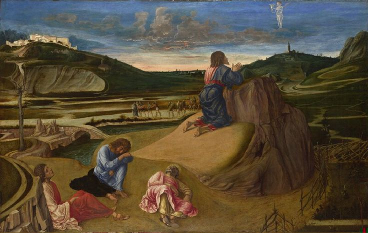 Bellini, Agony in the Garden, 1459 - 1465, Panneau Tempera, Dimensions : 81 cm x 1,27 m, National Gallery (Londres, Royaume Uni)