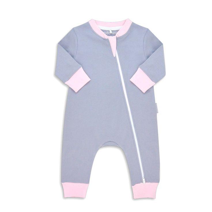 Endanzoo Organic Long Sleeve Romper - Grey w/ Pink
