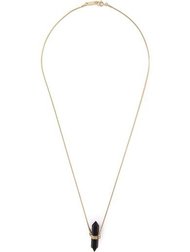 'Black brass crystal pendant necklace from Isabel Marant featuring gold-tone hardware, a spring-ring fastening and a gold-tone logo plaque.'