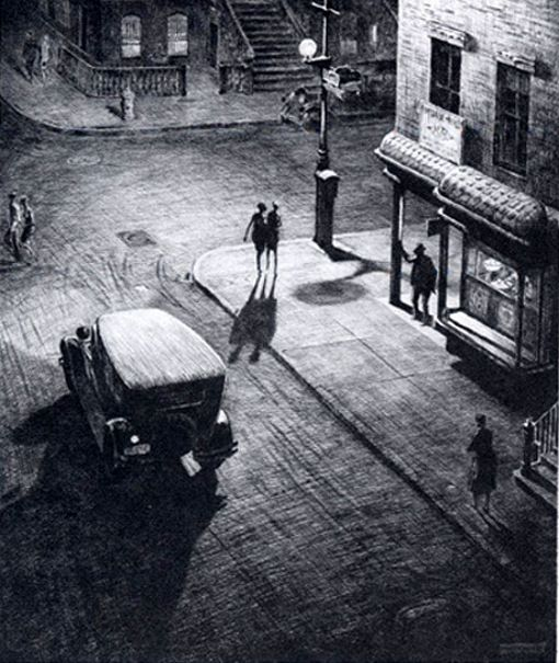 'Night in New York' by Martin Lewis (1881 - 1962)