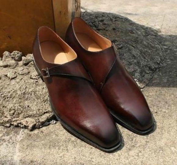 4c116bba34e44 Handmade Mens brown formal monk Shoes, Men Office dress shoes, Men leather  shoes