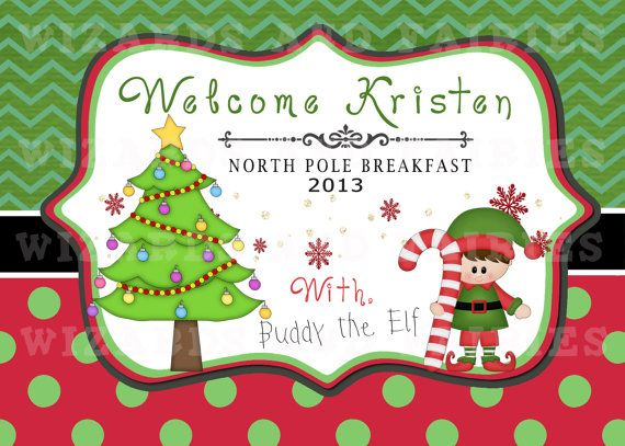 Christmas Breakfast Idea (Printable} Your child's name & your elf's name. {Table Sign- Choose girl or boy elf}