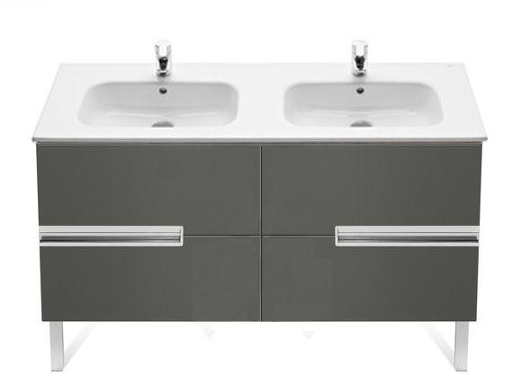 Roca Victoria-N 2 Drawer Vanity Unit Grey 1200 x 460mm with Ceramic Basin 1TH