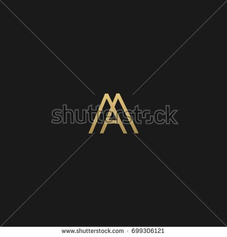 Unique modern creative elegant geometric fashion brands black and gold color MA AM M A initial based letter icon logo.