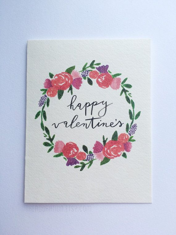 Watercolor Brush Lettering Floral Wreath / Happy Valentine's Valentine Card