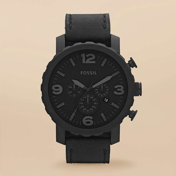 FOSSIL Watch Collections Gage Nate:Men Nate Stainless Steel and Leather Watch Black JR1354 shit-for-wearin