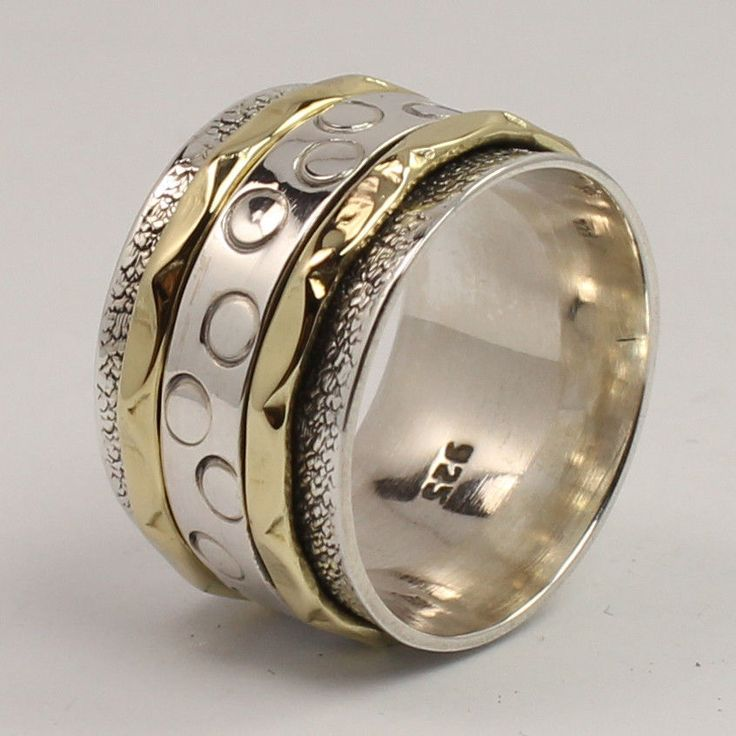 925 Sterling Silver Jewelry Two Tone 13 Mm Wide Band