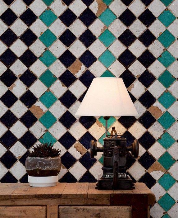 Tourquoise chess   Carta da parati degli anni 70