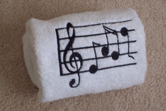 Bath Hand Towel embroidered musical notes by BorgmannsCreations, $11.00