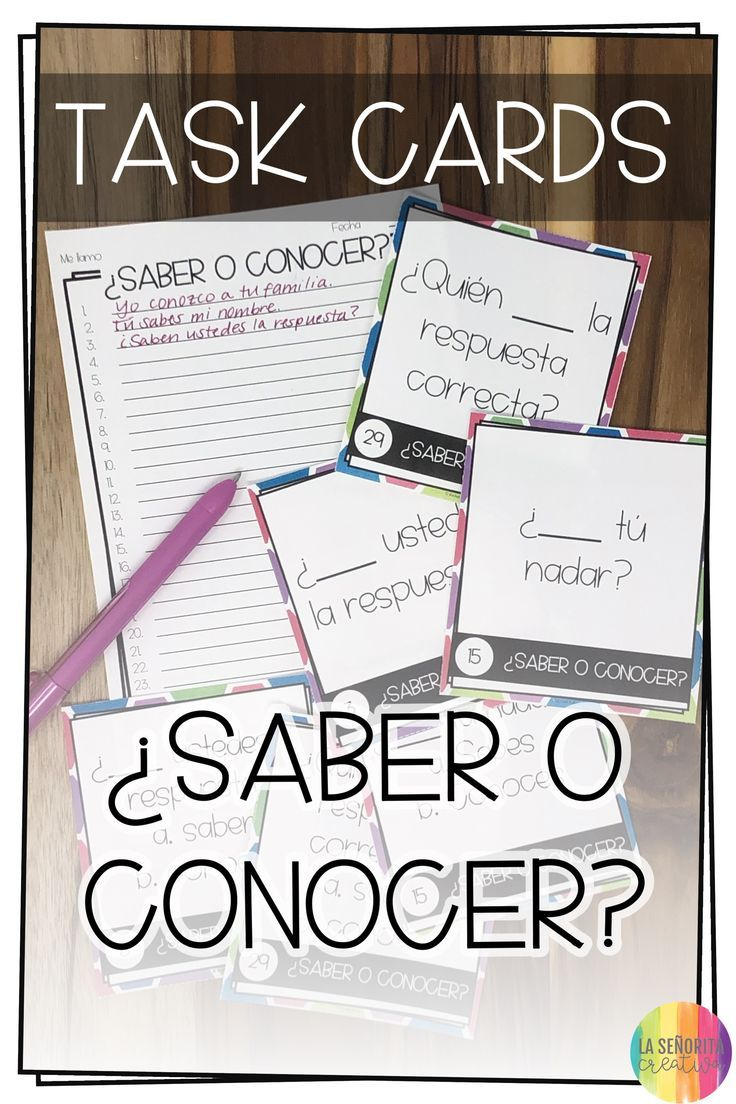 Fun And Engaging Task Card Activity For Spanish Students To Practice Saber Vs Conocer En Espanol The Task Card Activities Task Cards Learning Spanish For Kids