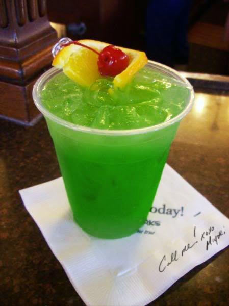 Liquid marijauna- 1/2 oz vodka, 1/2 oz Captain Morgan, 1 oz Malibu Rum, 1 oz Melon liquour, Sour mix, and Sprite.
