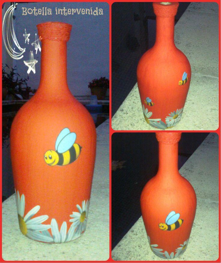 Botella Decorada - Pintada A Mano Decoupage, en http://ofeliafeliz.com.ar