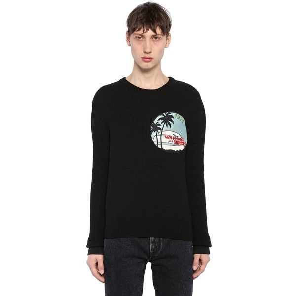 Saint Laurent Men Waiting For Sunset Patch Wool Sweater (21.715.215 IDR) ❤ liked on Polyvore featuring men's fashion, men's clothing, men's sweaters, black, mens sweaters, mens crew neck sweaters, men's wool crew neck sweaters, mens crewneck sweaters and mens wool sweaters