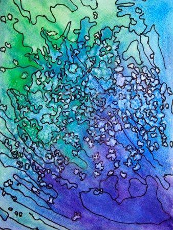 watercolor, salt and pen