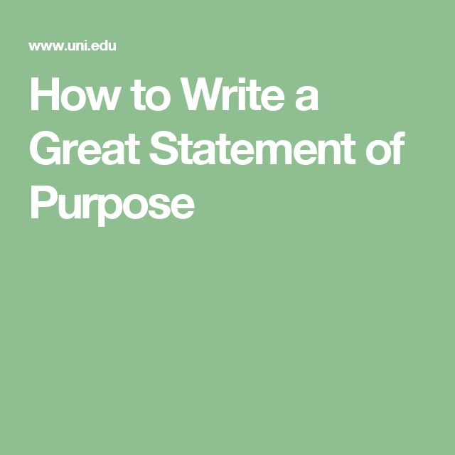 writing a strong statement of purpose