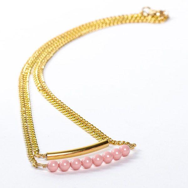 Selbstgemachte Doppelkette mit Metallperlen Röhre und Swarovski Crystal Pearls. Alle Materialien bei Glücksfieber erhältlich.