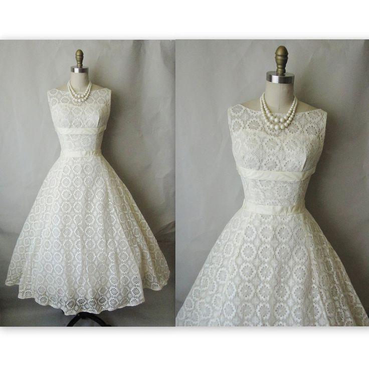 50's Crochet Lace Wedding Dress // Vintage 1950's White Lace Illusion Wedding Party Dress Gown XS S. $234.00, via Etsy.