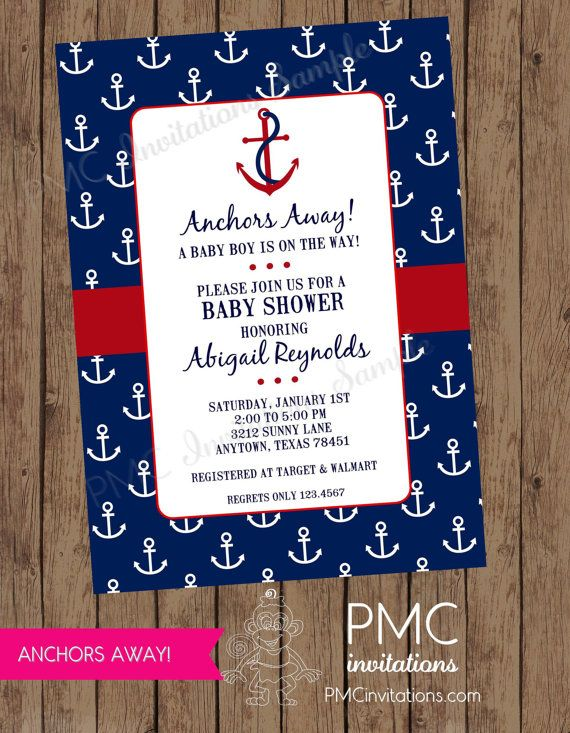 Custom Printed Nautical Baby Shower  Invitations - 1.00 each with envelope on Etsy, $1.00