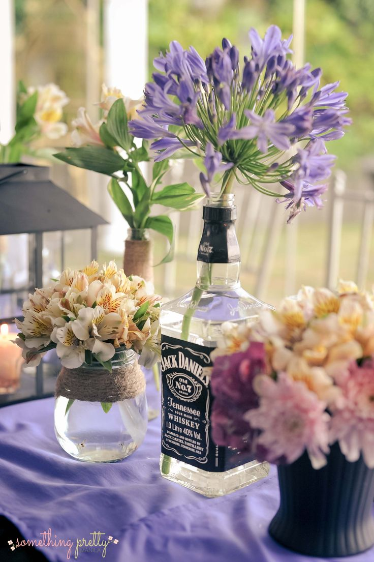 Wedding Anniversary Ideas Manila : Table Centerpiece Styling Wendel and Kets Jack Daniels Wedding ...
