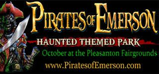 PIRATES OF EMERSON  6 Thrilling Haunted Attraction + Dead Entertainment  The month of October Alameda County Fairgrounds | Pleasanton  For more information and tickets, go to: http://piratesofemerson.com/attractions.htm  Happening in the Bay | https://www.facebook.com/whatshappeninginthebay