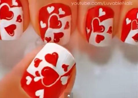 uñas decoradas para San Valentín