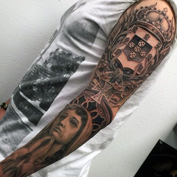 Male With Family Crest Tattoo Sleeve