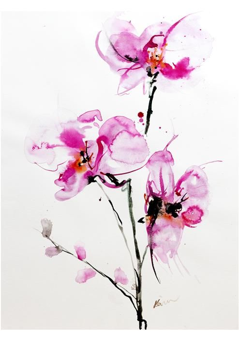 "Original art for sale at UGallery.com | Orchids 1 by Karin Johannesson | $700 | watercolor painting | 29.5"" h x 24"" w 