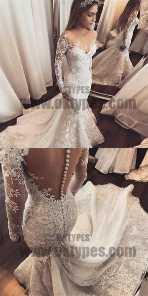 Mermaid Illusion Bateau Long Sleeves Tulle Wedding Dress with Appliques, TYP0710 Mermaid Illusion Bateau Long Sleeves Tulle Wedding Dress with Appliques, TYP0710