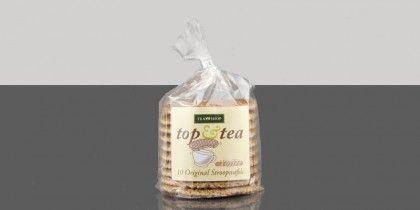 Top&Tea Caramel (Temporal), Galletas holandesas con relleno de caramelo y especias ideales para acompañar tu té favorito. Tapar la taza de té con la galleta para reblandecer el caramelo, y disfrutar de su exquisito sabor.