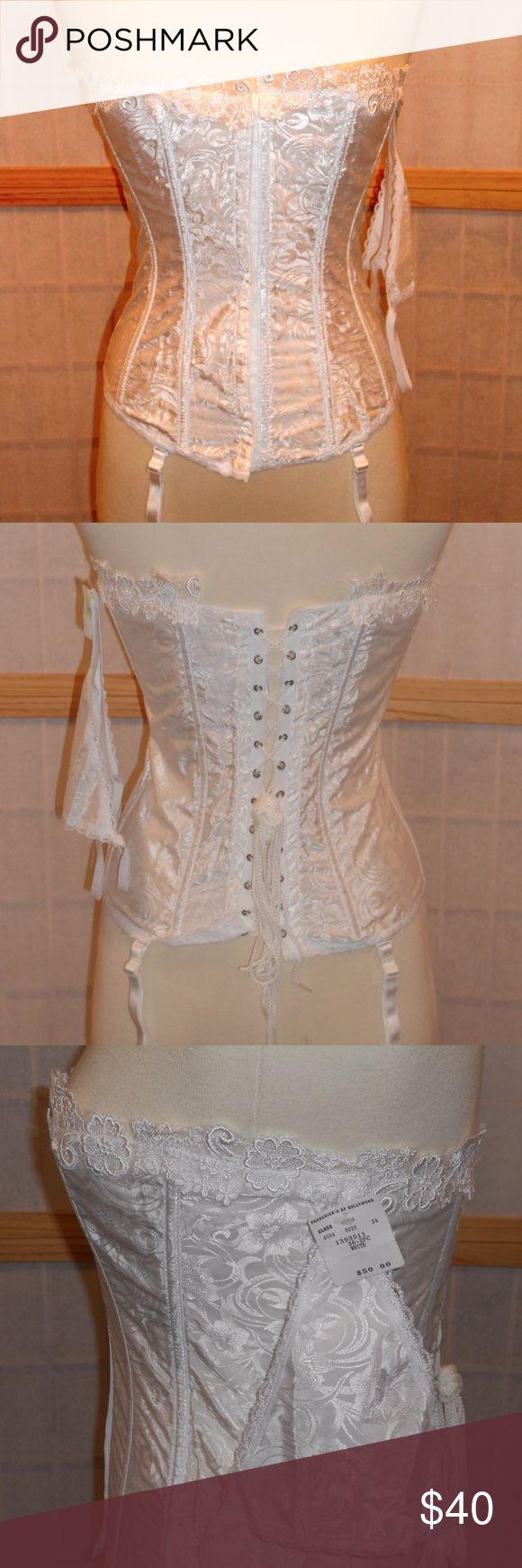 NWT Frederick's of Hollywood White Lingerie Set Brand new Frederick's of Hollywood 2-piece lingerie set. Size 36, no cup given. Included is a white strapless satin corset/bustier with matching white g-string. The strapless corset has a white flower pattern on it and a delicate lace trim emerges at the top. The corset comes with 4 removable and adjustable garters. The front closes with a row of eye and hook clasps and ties in the back. Style #FRD20. Made in USA. Hand wash only. Frederick's of…