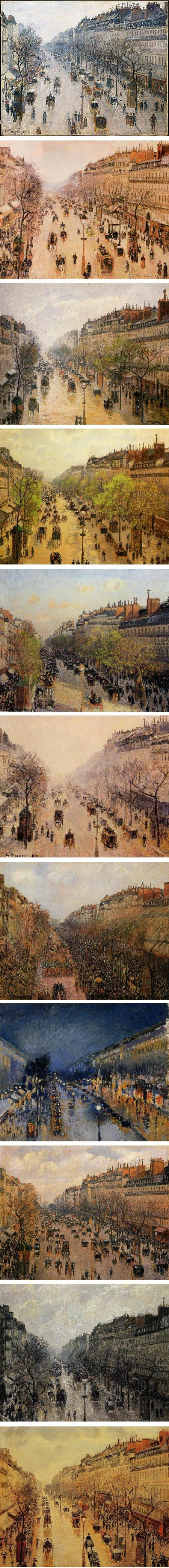 Pissaro's paintings from his hotel window. Different days + different seasons. Read more...http://jackiejacobson.com/07/pissarro-montmartre/