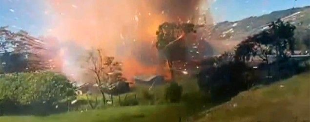 An explosion at a fireworks warehouse in Colombia is caught on video. (AP) Follow link for more: http://news.yahoo.com/explosion-at-fireworks-warehouse-blasts-pyrotechnics-over-colombian-town-164109227.html?soc_src=copy