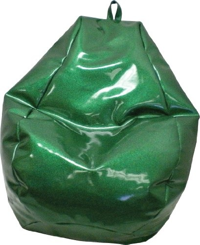 """The Extra Large Bean Bag is Sturdy, Double Stitched, and has a Child Safe Zipper. A Green Sparkle Vinyl. 128"""" Circumference (L39"""" x W39"""" x H25""""). Comfortably Fits all Ages. This Durable Bean Bag is Made in USA and has Easy Wipe Clean Maintenance. Filled with Virgin Expanded Polystyrene Beans."""