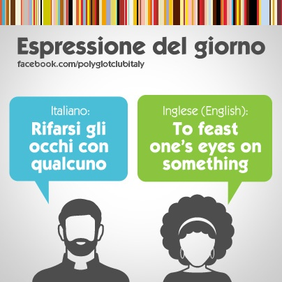 Learning Italian Language ~ Italian / English idiom: to feast one's eyes on something