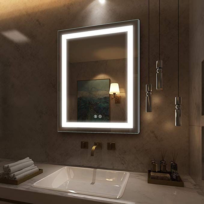D Amour 28x36 Inch Led Lighted Bathroom Mirror With Double Buttons Design Square Led Mirror For Bathroom B Led Mirror Lighted Bathroom Mirror Bathroom Mirror